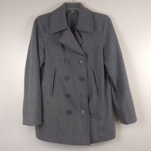 Double Breasted Wool Blend Pea Coat